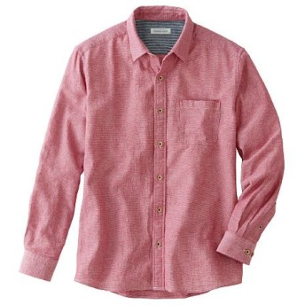 【メンズ】 【人気シリーズ商品】綿100%パナマ織りシャツ(長袖) - セシール ■カラー:レッド ■サイズ:3L,LL,M,5L,L