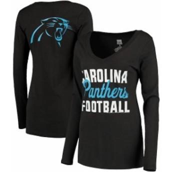 JFNB ジェイエフエヌビー スポーツ用品 Carolina Panthers Womens Black Blitz 2 Hit V-Neck Long Sleeve T-Shirt