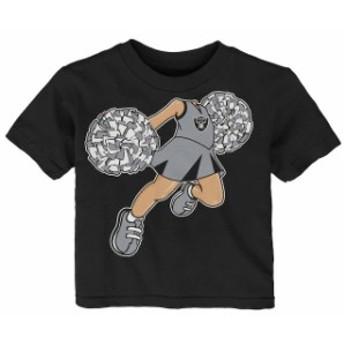 Outerstuff アウタースタッフ スポーツ用品 Oakland Raiders Girls Infant Black Pom Pom Cheer T-Shirt