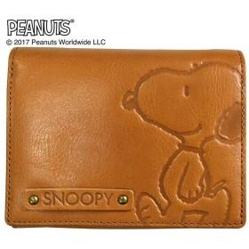 SNOOPY(スヌーピー)/スヌーピーウォーク LF二つ折れ牛革財布|PEANUTSキャメル