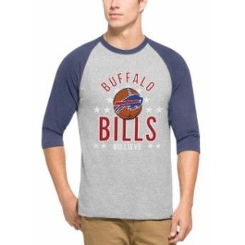 47 フォーティーセブン スポーツ用品 47 Buffalo Bills Gray Lockdown Raglan 3/4-Sleeve T-Shirt