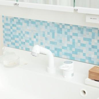 タイルシール タイルシート メタルタイル スモールブルー 耐熱 防水 耐水 ( タイル シール ウォールステッカー )