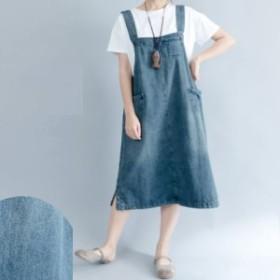 ワンピース デニム ジャンパースカート レディース きれいめ 10代 20代 30代 40代  送料無料