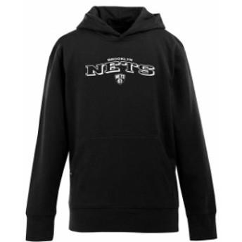 Antigua アンティグア スポーツ用品 Antigua Brooklyn Nets Youth Signature Pullover Hoodie - Black