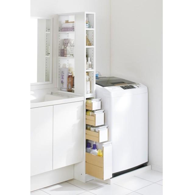 収納物が取り出しやすい3面オープンすき間収納庫 幅15cmホワイト