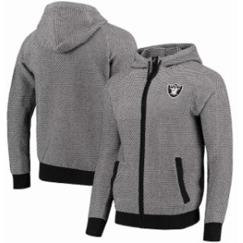 Forever Collectibles フォーエバー コレクティブル 服 スウェット Oakland Raiders Gray Poly-Knit Full-Zip Hoodie