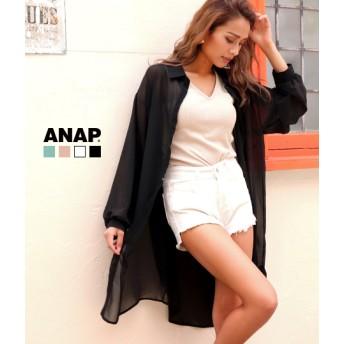 ANAP(アナップ)シフォンロングシャツ