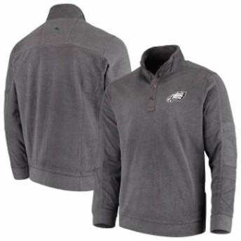 Tommy Bahama トミー バハマ 服 スウェット Tommy Bahama Philadelphia Eagles Charcoal Fleecebender Snap Mock Sweater