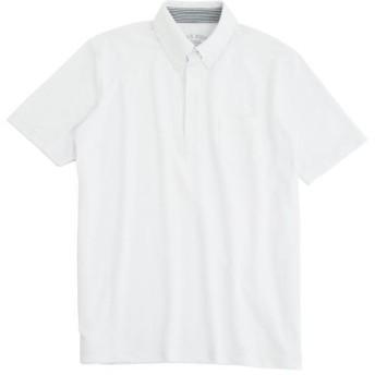 【メンズ】 ボタンダウンタイプのドライ鹿の子素材ポロシャツ(半袖) - セシール ■カラー:ホワイト ■サイズ:S,3L,LL,7L,L,M,5L