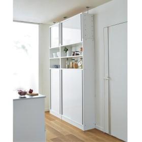 省スペースOK! 突っ張り式 薄型 引き戸 キッチン収納 食器棚 奥行30cmタイプ 幅90cmホワイト