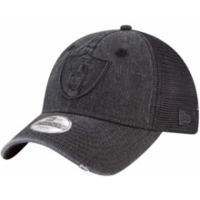 New Era ニュー エラ スポーツ用品  New Era Oakland Raiders Youth Black Tonal Washed 9TWENTY Adjustable Trucker Hat