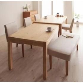 スライド伸縮テーブルダイニング 6点セット(テーブル+チェア4脚+ベンチ・長椅子1脚) (テーブル幅 W135-235)(素材カラー ブラウン)(チェア