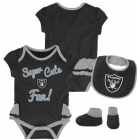 Outerstuff アウタースタッフ アクセサリー  Oakland Raiders Girls Infant Black/Gray Mini-Trifecta Bodysuit Bib & Boo
