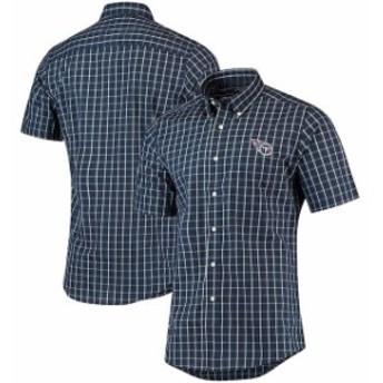 Antigua アンティグア シャツ ポロシャツ Antigua Tennessee Titans Navy/White Endorse Woven Short Sleeve Button-Down