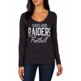 JFNB ジェイエフエヌビー スポーツ用品  Oakland Raiders Womens Black Direct Snap V-Neck Long Sleeve T-Shirt