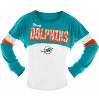 New Era ニュー エラ スポーツ用品 New Era Miami Dolphins Girls Youth White/Aqua Baby Jersey Long Sleeve T-Shirt