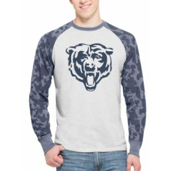 47 フォーティーセブン スポーツ用品 47 Chicago Bears Gray Stealth Camo Raglan Long Sleeve T-Shirt