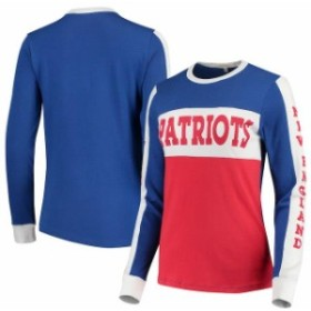 Junk Food ジャンク フード スポーツ用品  Junk Food New England Patriots Womens Royal/Red Color Block Racer Long Slee