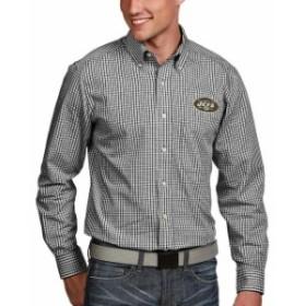 Antigua アンティグア シャツ ポロシャツ Antigua New York Jets Black Associate Woven Long Sleeve Button-Down Shirt