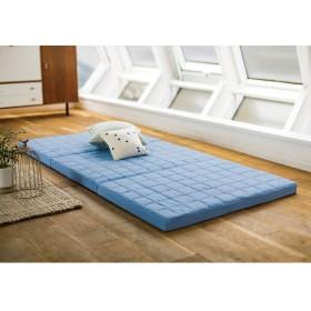 シングル(除湿・軽量・寝心地にこだわった3つ折バランス硬質マットレス 厚さ6cm)ブルー