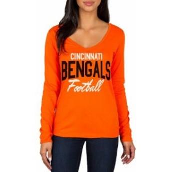 JFNB ジェイエフエヌビー スポーツ用品 Cincinnati Bengals Womens Orange Direct Snap V-Neck Long Sleeve T-Shirt