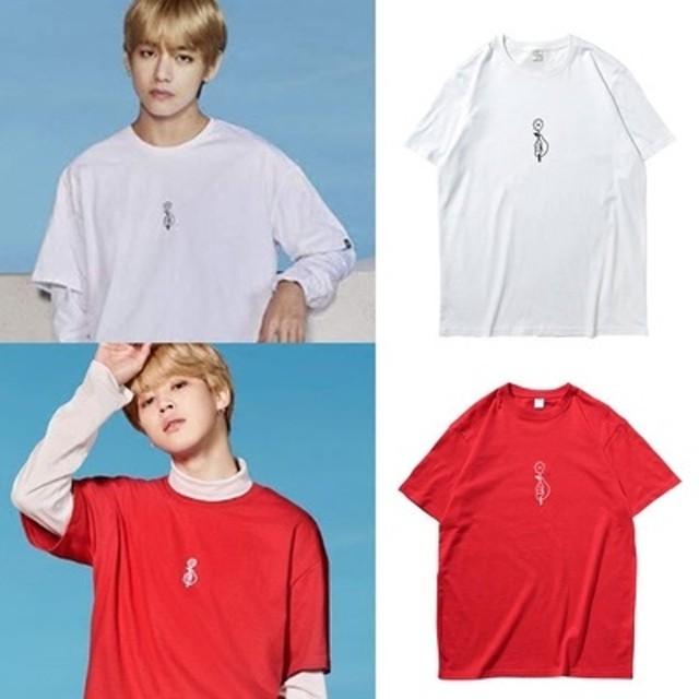 BTS(防弾少年団)周辺のV(テテ)/JIMIN(ジミン) 着用 Tシャツ BTS 着用 Tシャツ 男女兼用 Tシャツ