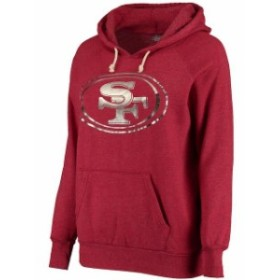 Majestic マジェスティック スポーツ用品  San Francisco 49ers Womens Scarlet Primary Foil Logo Tri-Blend Pullover Ho