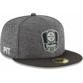 New Era ニュー エラ 服 New Era Pittsburgh Steelers Heather Gray/Heather Black 2018 NFL Sideline Road Black 59FIFTY Fitted
