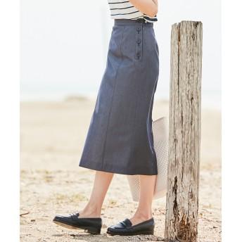 【オンワード】 J.PRESS LADIES(ジェイ・プレス レディス) 【色落ちしにくい】TENCEL DENIM スカート ネイビー 7 レディース 【送料無料】