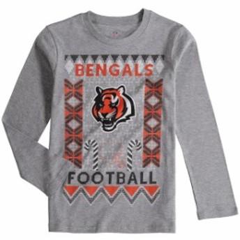 Outerstuff アウタースタッフ スポーツ用品 Cincinnati Bengals Youth Heathered Gray Blizzard Long Sleeve T-Shirt