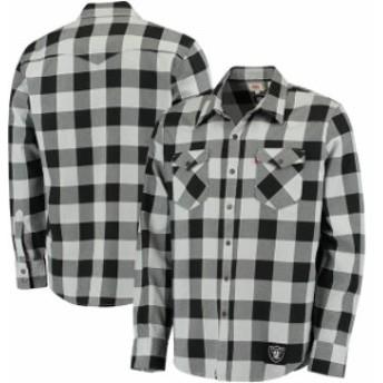 Levis リーバイス シャツ ポロシャツ Levis Oakland Raiders Black Barstow Buffalo Plaid Western Long Sleeve T-Shirt