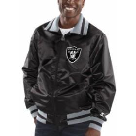 Starter スターター アウターウェア ジャケット/アウター Starter Oakland Raiders Black Captain Satin Varsity J