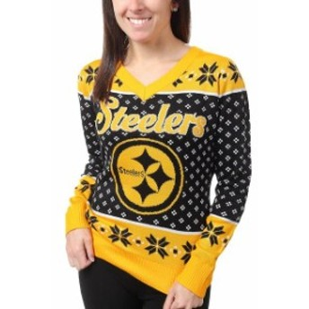 Klew クルー 服 スウェット Klew Pittsburgh Steelers Womens Black Big Logo V-Neck Sweater