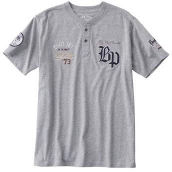 【メンズ】 綿100%刺繍使いヘンリーネックTシャツ(半袖) - セシール ■カラー:ミディアムグレー ■サイズ:L,M,LL,3L,5L