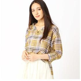 【COMME CA:トップス】コットンシルクシアーチェック2WAYシャツ