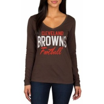 JFNB ジェイエフエヌビー スポーツ用品 Cleveland Browns Womens Brown Direct Snap V-Neck Long Sleeve T-Shirt