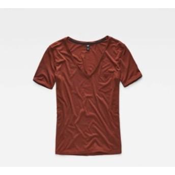 gstar ジースター ファッション 女性用ウェア Tシャツ gstar ovvela-straight-deep-v-neck-izaco-jersey