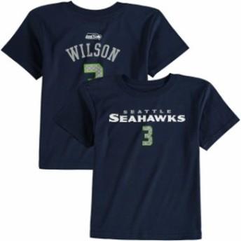 Outerstuff アウタースタッフ スポーツ用品 Russell Wilson Seattle Seahawks Preschool Navy Primary Gear Name & Numbe