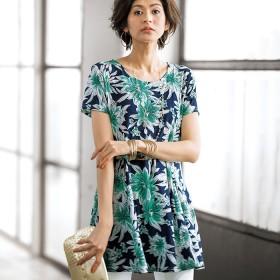 チュニック ベルーナ フレアーシルエットプリントチュニック 大花柄(ネイビー×グリーン) M レディース