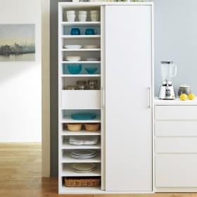 出し入れラクラク 引き戸の食器棚 幅90cm・奥行39cmホワイト
