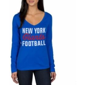JFNB ジェイエフエヌビー スポーツ用品  New York Giants Womens Royal Blitz 2 Hit Long Sleeve V-Neck T-Shirt