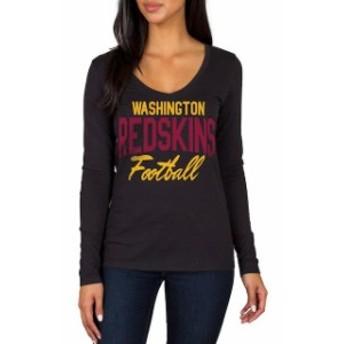 JFNB ジェイエフエヌビー スポーツ用品 Washington Redskins Womens Black Direct Snap V-Neck Long Sleeve T-Shirt