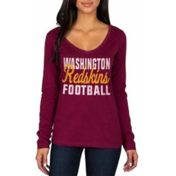 JFNB ジェイエフエヌビー スポーツ用品 Washington Redskins Womens Burgundy Blitz 2 Hit Long Sleeve V-Neck T-Shirt