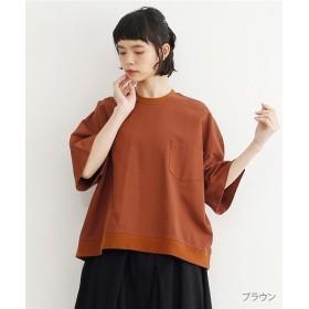 メルロー ポッケ付きオーバーサイズTシャツ レディース ブラウン FREE 【merlot】