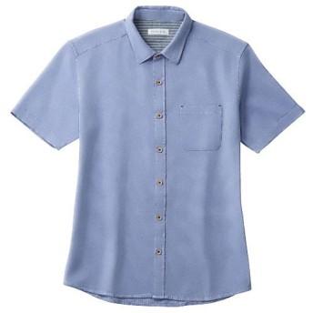 【メンズ】 【人気シリーズ商品】綿100%パナマ織りシャツ(半袖) - セシール ■カラー:ブルー ■サイズ:3L,5L,LL,L,M