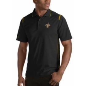 Antigua アンティグア シャツ ポロシャツ Antigua New Orleans Saints Black Merit Polo