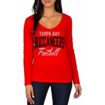 JFNB ジェイエフエヌビー スポーツ用品 Tampa Bay Buccaneers Womens Red Direct Snap V-Neck Long Sleeve T-Shirt