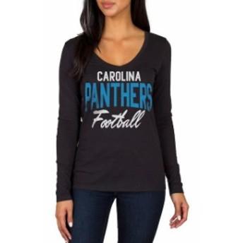 JFNB ジェイエフエヌビー スポーツ用品 Carolina Panthers Womens Black Direct Snap V-Neck Long Sleeve T-Shirt