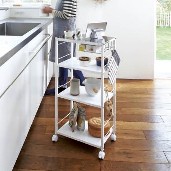 ステンレス天板が使いやすい頑丈キッチンワゴン 幅45cmホワイト