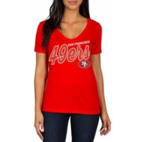 JFNB ジェイエフエヌビー スポーツ用品  San Francisco 49ers Womens Scarlet Red Zone Script V-Neck T-Shirt